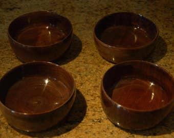 """Black Walnut Wood Salad Bowls  5.5"""" x 2.5"""" Set of four"""