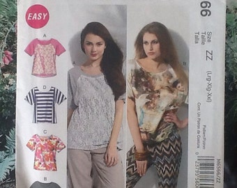 M6566 McCalls sewing pattern for ladies oversized t-shirt in different lengths