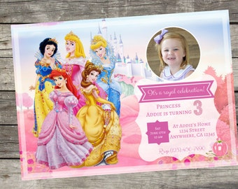 Personalized Disney Princess Birthday Invitation- Digital File Only- DIY 5x7