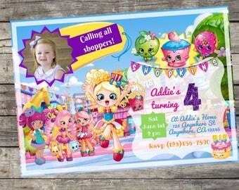 Personalized Shopkins Birthday Invitation- Digital File Only - DIY 5x7