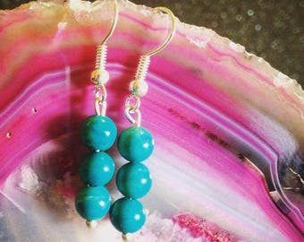 Turquoise Gemstone Drop Earrings