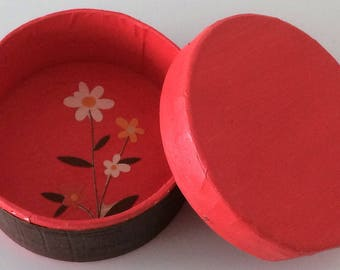 Jewellery Box - Pink & Brown with Flower