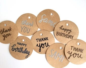 Personalized Gift Tags | Embossed Bag Tags | Hand Lettered Paper | Party Supplies