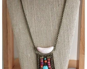 Hipppiechic boho leather necklace