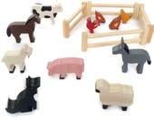 Wooden farm animal set  waldorf toy figures  eco friendly