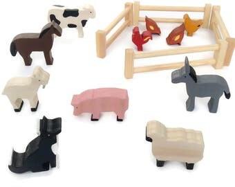 Wooden farm animal set - waldorf toy figures - eco friendly