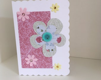 Home made beautiful flower occasion card.
