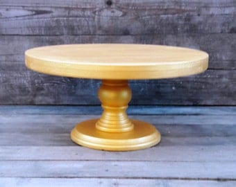 "Custom Gold Cake Stand, 12"" Wedding, Bridal, Birthday Gold Wedding cake stand for a Large cake stand Shebby White cake stand Cupcake Display"