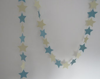 Blue and Cream Star Garland, Baby Shower, Wedding Decor, Party Decor,