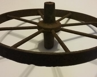 "Rustic Heavy Solid Cast Iron Wagon Wheel 8 Spoke 15 1/2"" Diameter Metal"