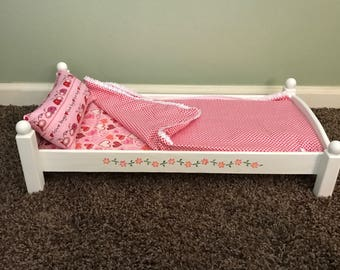 """Doll bed and bedding for American Girl Doll or 18"""" Doll"""