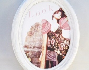 Oval white brocante picture frame with fashion collage Look