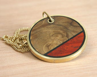 Wood & Brass Pendant and Chain - Double Sided - Handmade -  Exotic Colourful Species - Round