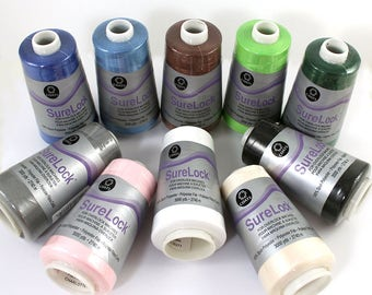 1 Cone Sewing Thread, Surelock Overlock Thread, Serger Sewing Thread, 100% Polyester Thread, Coats & Clark, 3000 Yds, Sewing Machine Cones
