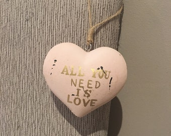 All you need is love heart hanging ornament-Pink Blush Gold