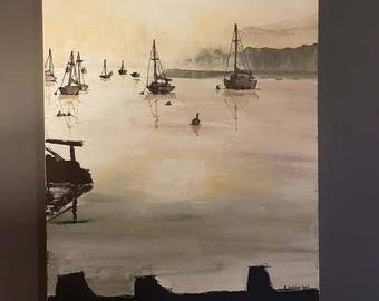 """A Misty Morning on The Deben 14"""" x 18"""" Canvas"""
