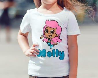 Bubble Guppies Molly Shirt Digital Iron On Transfer Design, Custom Name Shirt, Children's Clothing, Mermaid Printable, Bubble Guppy Shirt