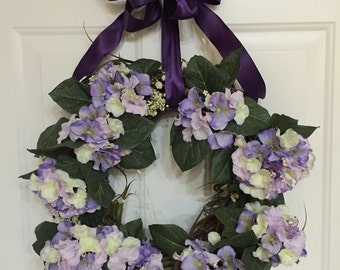Spring/summer wreath, purple hydrangea