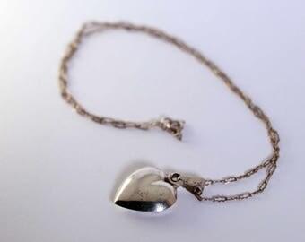 Antique Vintage Sterling Silver Heart Pendant Necklace