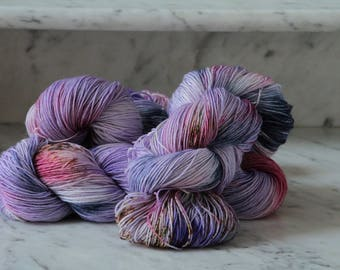 Tiptoe Through the Pansies Handpainted Superwash Wool Yarn