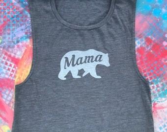 Mama Bear Shirt, Mama Bear Tank, Workout Top, Weekend Tee, Women's Graphic Tops, Comfy Tee, Flowy Slub Tank, Muscle Tank