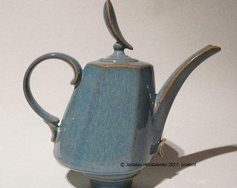 Light Blue Dancer COFFEE POT / TEAPOT Designer Made functional tableware stoneware pottery