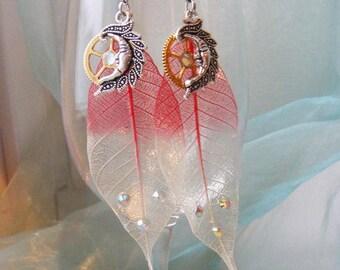 """Earrings """"Rose Leaves"""", leaf long earrings, dangle pink earrings, fantasy jewelry, steampunk earrings"""