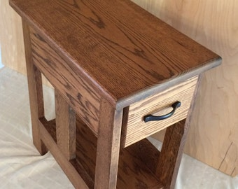 Mission style solid oak end table
