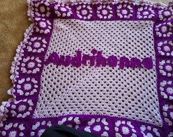 Crochet Personalized Granny Square Baby Blanket