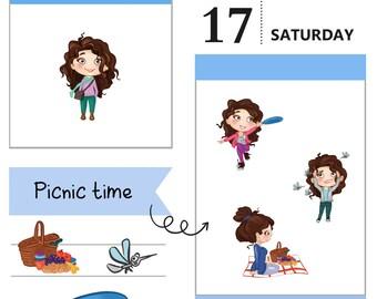 Tumma planner stickers - Picnic time, S0011, Erin Condren Life planner stickers, picnic stickers, kawaii stickers, happy planner stickers