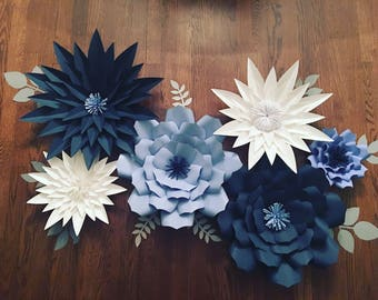Giant/ Large blue paper flowers back drop for home decor, party prop nursery, bridal shower, baby shower, or kids room
