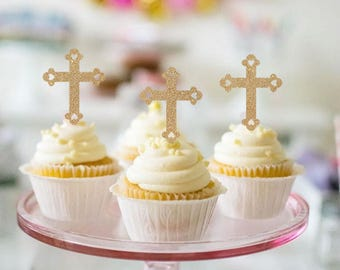 Cross Cupcake Toppers - Set of 12 - for First Communion, Confirmation, Baptism, Church - Gold Glitter Cupcake Toppers