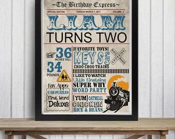 SALE Vintage train birthday sign, third birthday, Trains Birthday Chalkboard Poster,  Custom, Newspaper Birthday Poster, Any age
