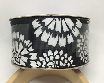 Black and White Flower Ribbon / Polyester Ribbon / Fabric Ribbon / Sewing Ribbon / Scrapbooking / Card Making / Dandelion Ribbon