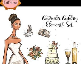 Bride clipart, Wedding clipart, Watercolor clipart, Bridal clipart, Bride graphics, heels clipart, cake clipart, wine clipart, flowers art