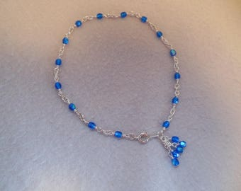 Bright Turquoise & Silver Anklet