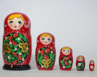 Nesting Dolls Khokhloma, traditional russian matryoshka, russian wooden doll, gift for mom, russian folk art