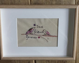 Handmade applique and free motion embroidery picture.