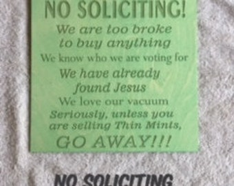 No Soliciting 12x12 wood engraved sign