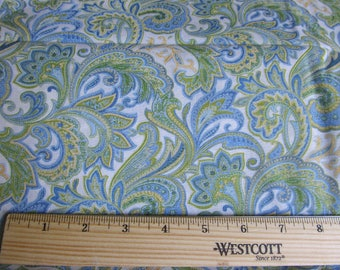 Fabric 1 Yard Blue Green White Yellow Paisley Pattern Quilting Cotton