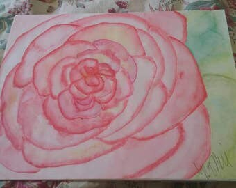 Shabby chic artist petals watercolor painting, watermelon, pinks,green painted by me! All it needs is a simple painted frame.