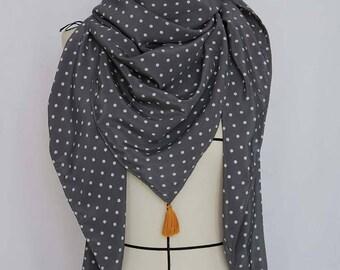 Unique 100% silk fabric Italian scarf with tassels handmade