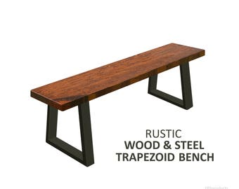 Trapezoid Bench, Industrial Bench, Rustic Wood and Steel Bench, Modern Bench, Trapezoid Leg Bench, Dining Bench, Entry Bench