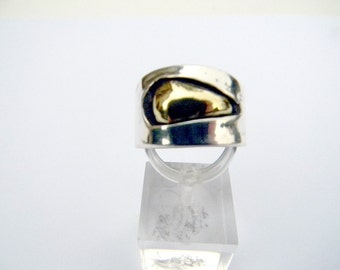 sensual silver, brass, contemporary ring and ring