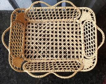 Vintage Hand-Woven Boho Basket Tray