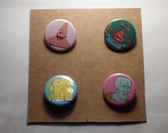 Ugly Spongebob Pins/Magnets