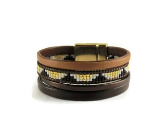 festival, and golden brown clasp Cuff Bracelet magnetic