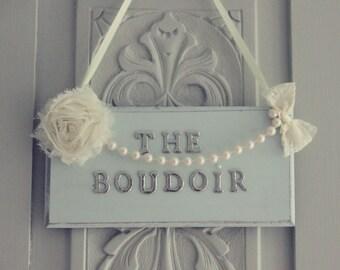 Mum's Boudoir Duck Egg & Silver Shabby Chic Door Plaque Hanger
