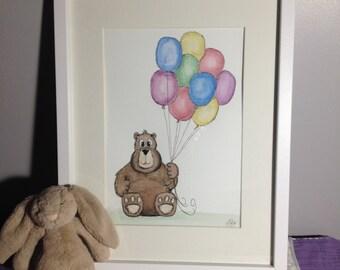 Nursery Decor Wall Art Painting Bear Balloons