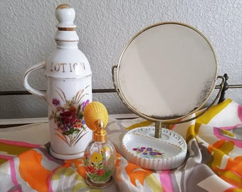 Vintage Vanity Set with Mirror and Lotion Bottle